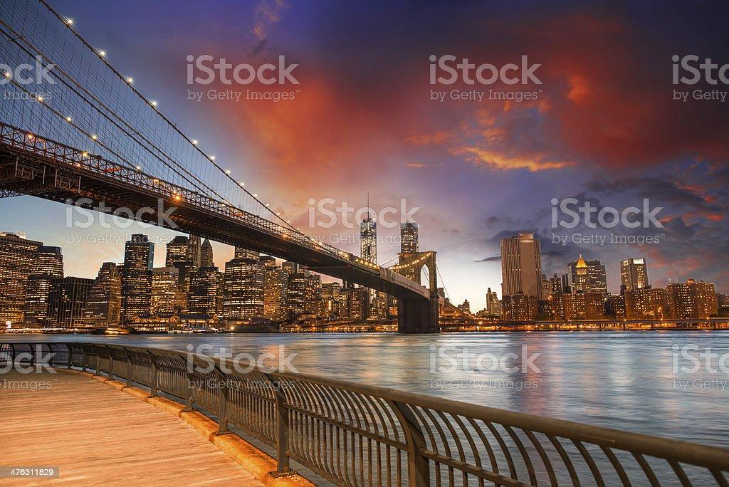 Brooklyn Bridge Park, New York City. Spectacular sunset view of royalty-free stock photo