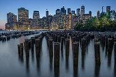 Blue hour photo of the Manhattan Skyline from Brooklyn Bridge Park in New York City