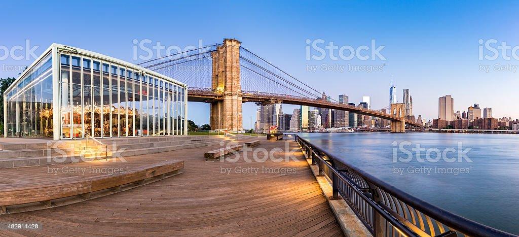 Brooklyn Bridge Park panorama stock photo