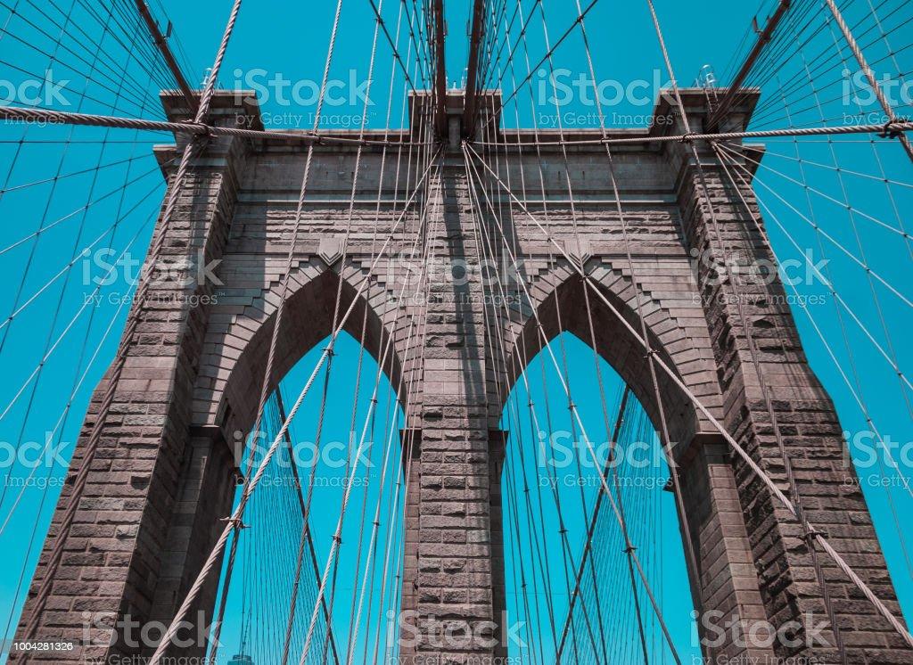 Brooklyn bridge pylon close up stock photo