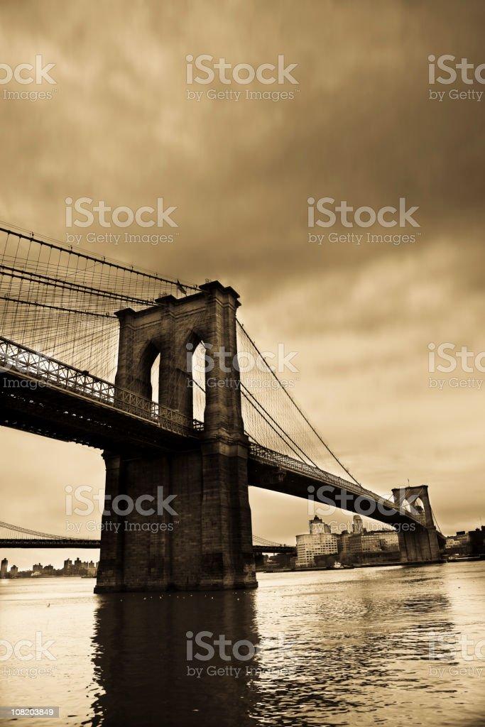Brooklyn Bridge, Sepia Toned royalty-free stock photo