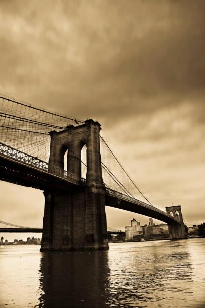 Brooklyn Bridge, Sepia Toned stock photo