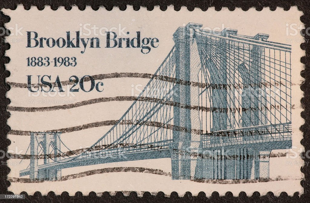 Brooklyn Bridge stamp 1983 royalty-free stock photo