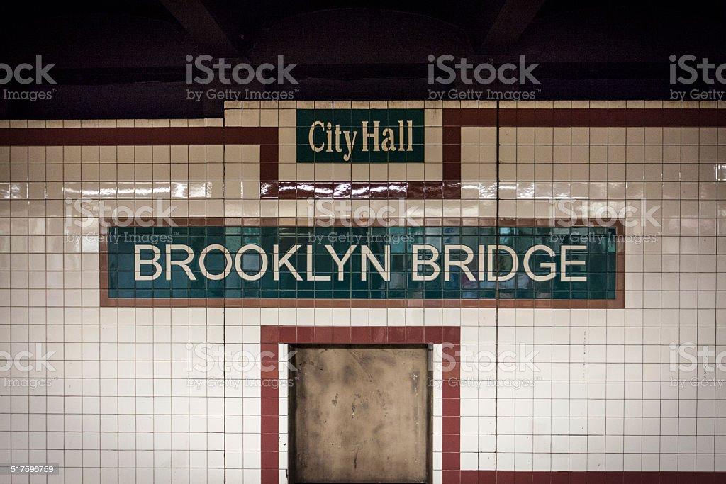 Brooklyn Bridge Subway Tiles stock photo