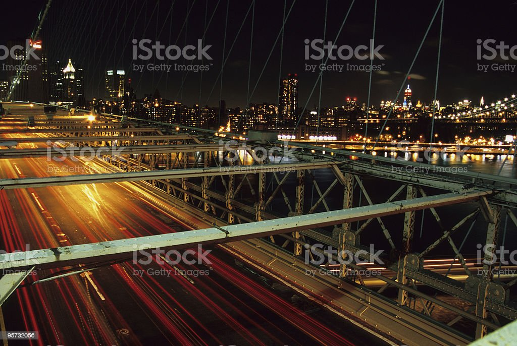 Brooklyn Bridge traffic, New York, USA royalty-free stock photo