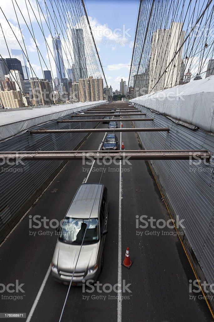 Brooklyn Bridge Traffic royalty-free stock photo