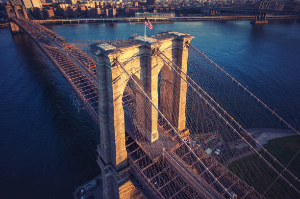 Brooklyn Bridge trom top - aerial view with East river. Background image. Taken from Brooklyn. stock photo