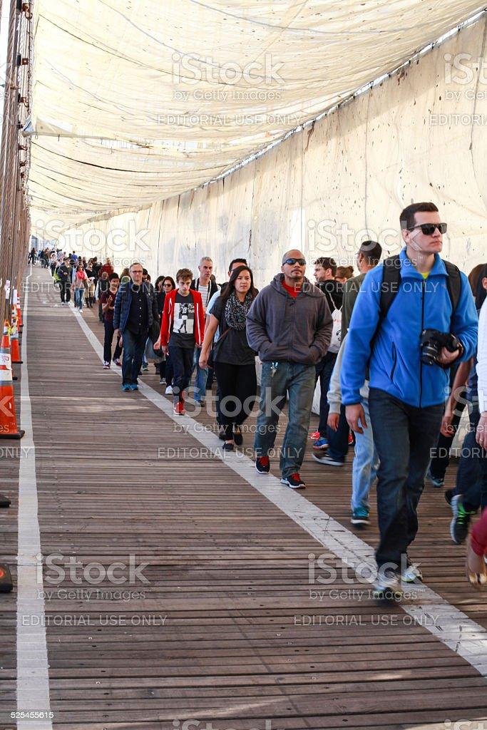 Brooklyn Bridge Under Construction Tarp Nyc Stock Photo