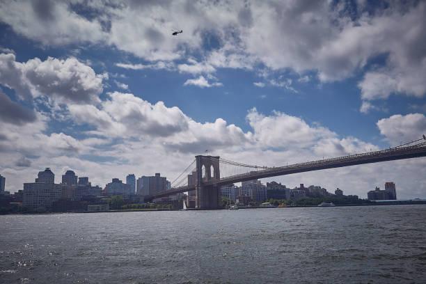 Brooklyn bridge view from Manhattan side stock photo