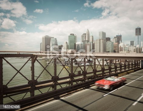 View of New York city from the Brooklyn bridge.