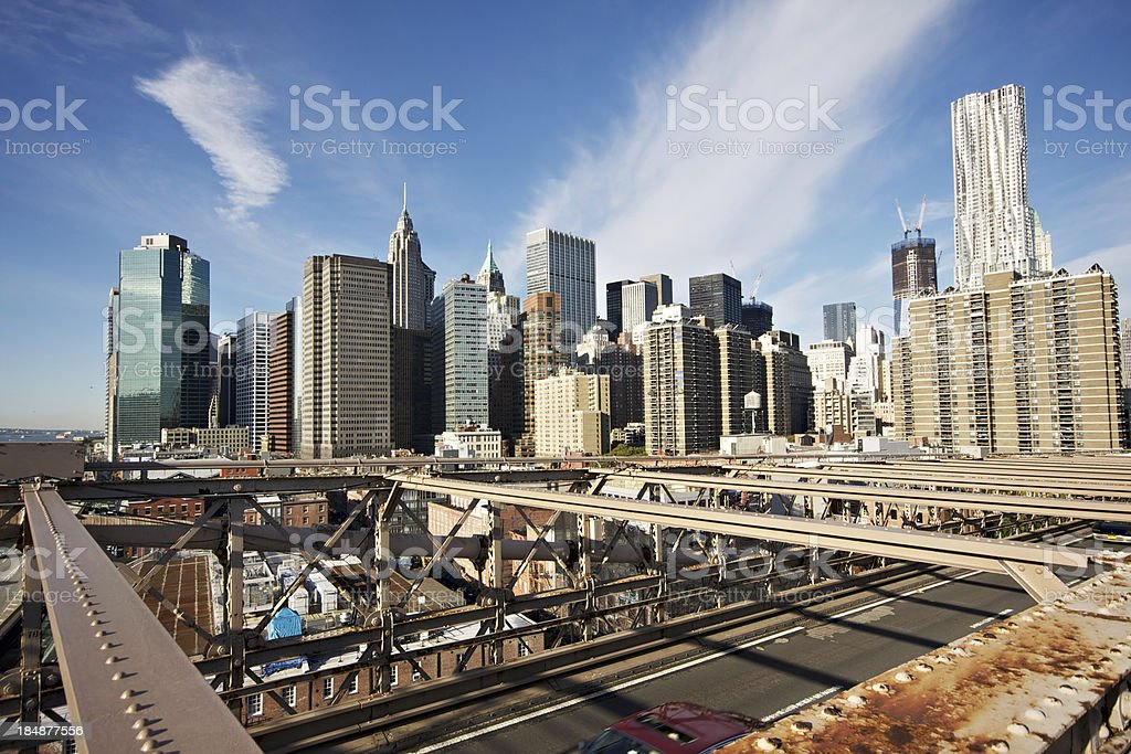 Brooklyn Bridge View of Manhattan stock photo
