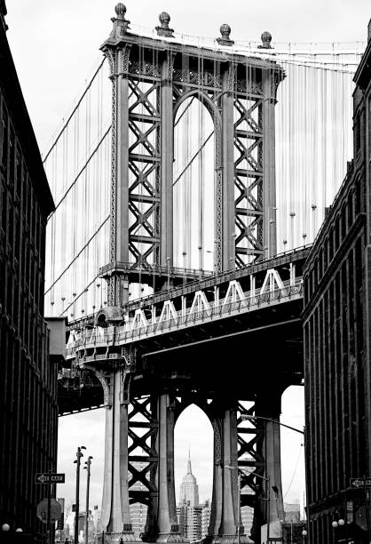 dumbo brooklyn bridge view - lower east side manhattan stock pictures, royalty-free photos & images