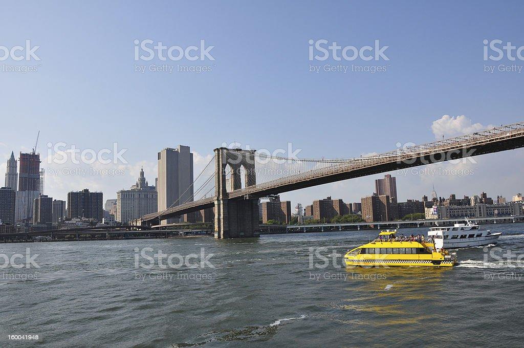 Brooklyn Bridge Water Taxi stock photo