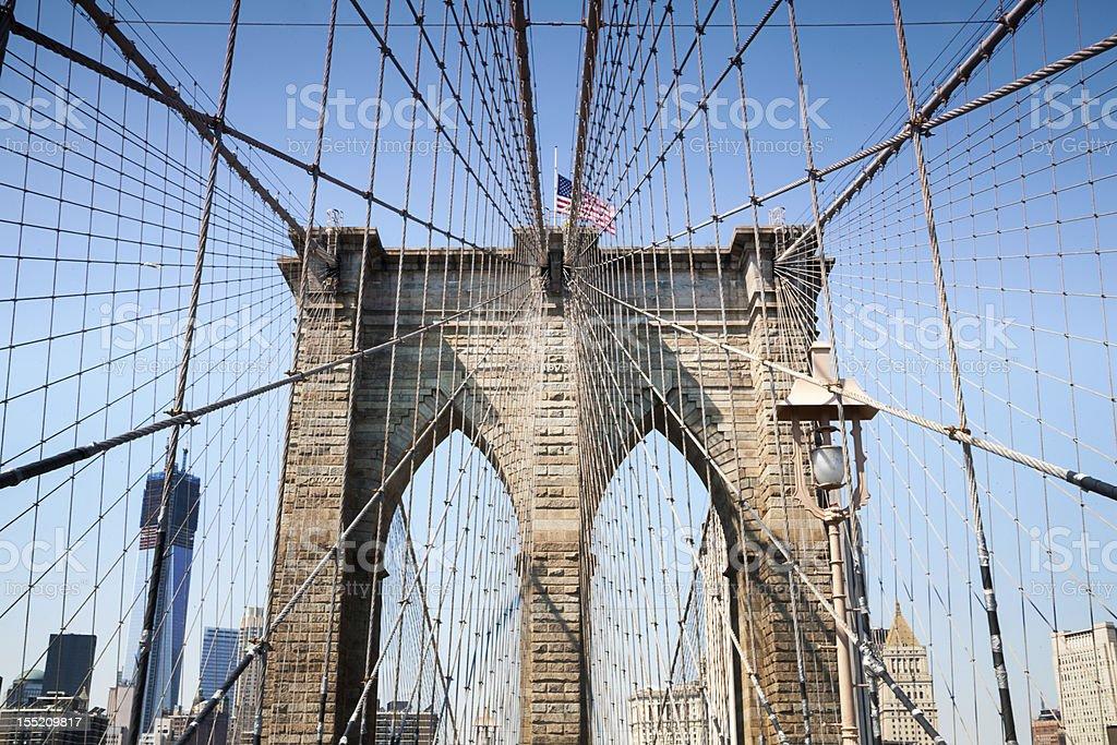 Brooklyn Bridge with American Flag royalty-free stock photo