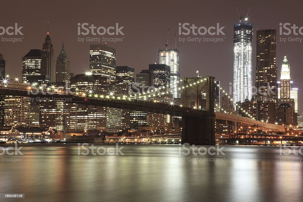 Brooklyn Bridge with Freedom Tower, NYC royalty-free stock photo