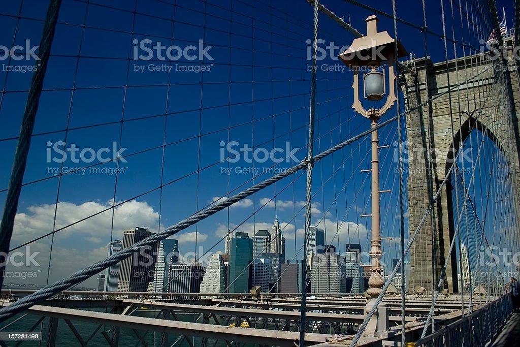 Brooklyn Bridge with lamp royalty-free stock photo