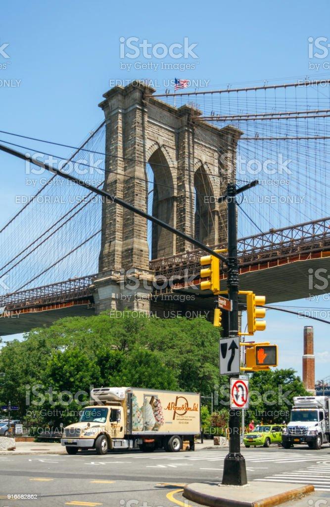 Brooklyn Bridge with Manhattan Bridge in background stock photo