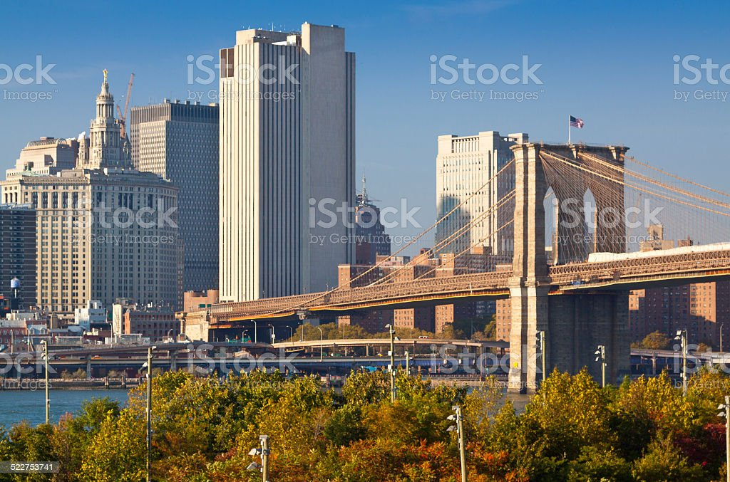 Brooklyn Bridge with Municipal  Buildings, New York City. stock photo