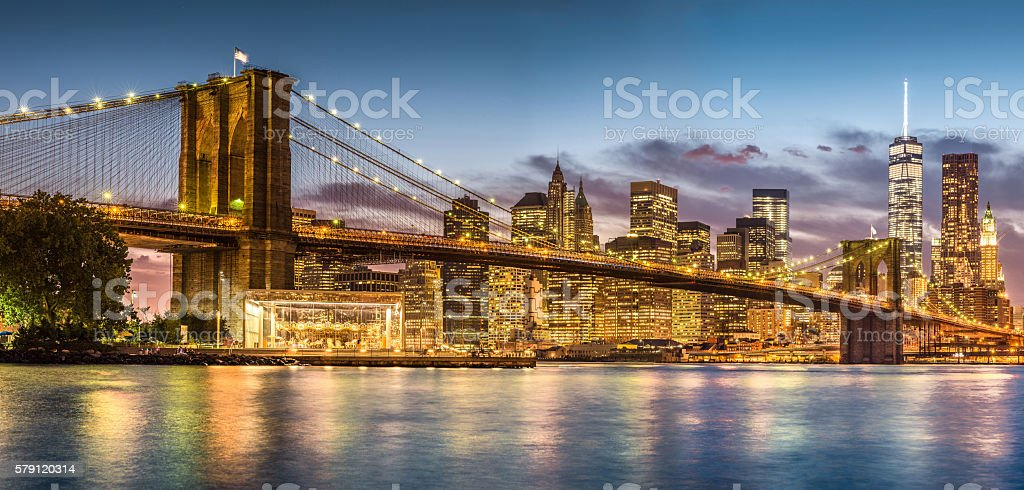Brooklyn Bridge with sunset from Brooklyn Bridge park stock photo