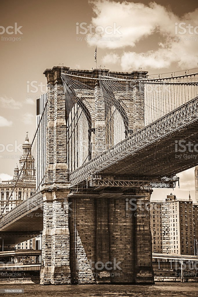 Brooklyn bridge with view on Downtown Manhattan, New York royalty-free stock photo