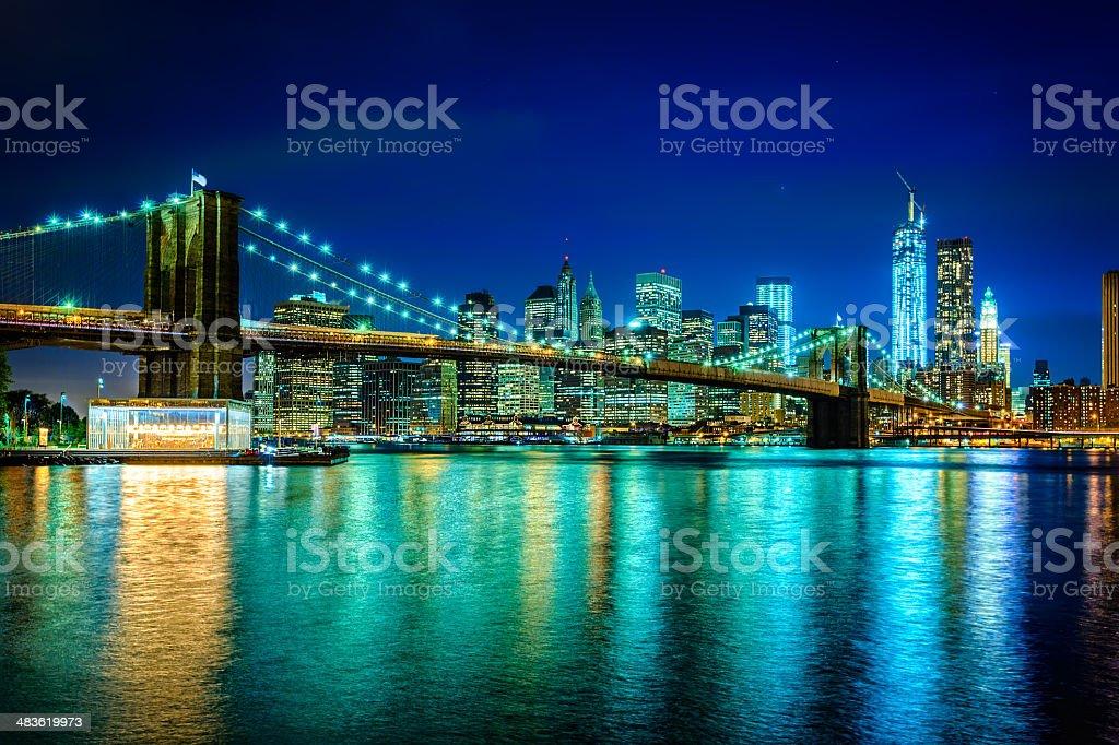 Brooklyn bridge with view on Downtown Manhattan, New York stock photo