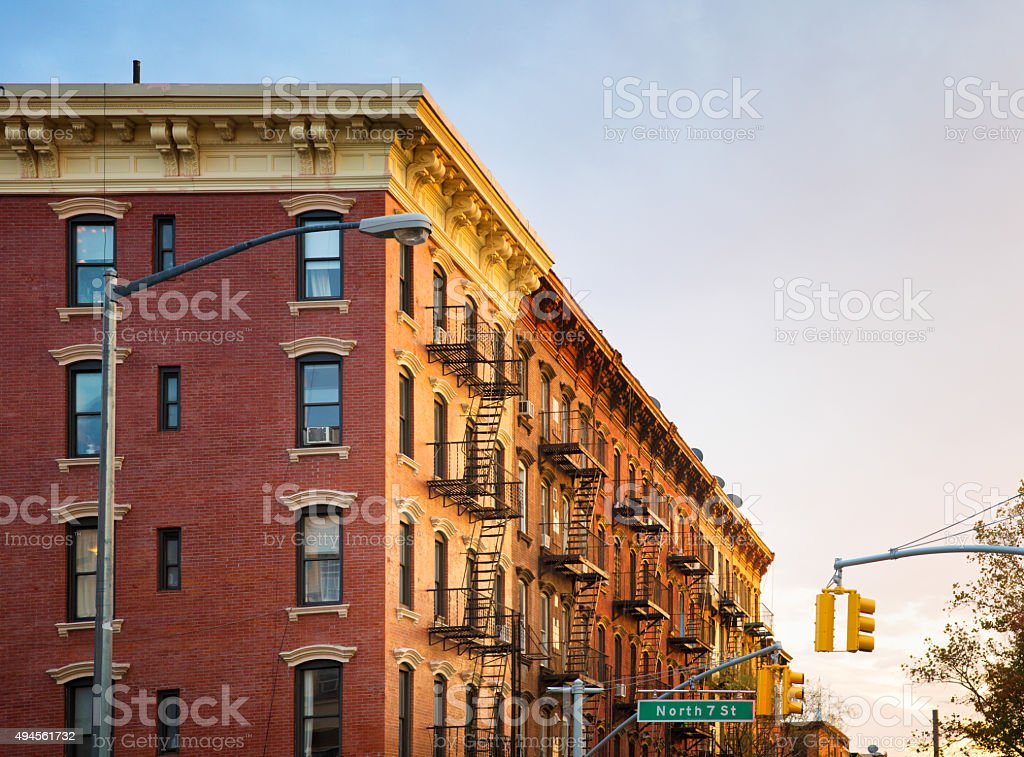 Brooklyn Brownstone Apartment Buildings At Sunset Panorama ...