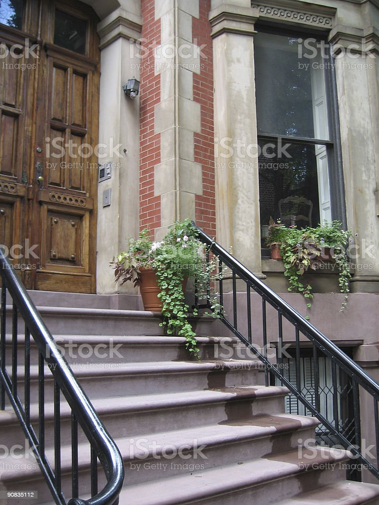 brooklyn brownstone stairs royalty-free stock photo