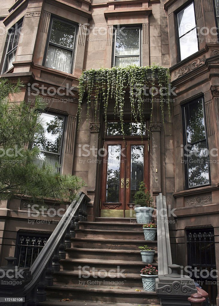 Brooklyn Brownstone Townhouse with Ivy royalty-free stock photo