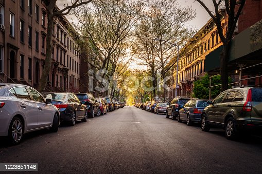 A row of Brooklyn brownstones in Carroll Gardens, Brooklyn during COVID-19. New York City. USA