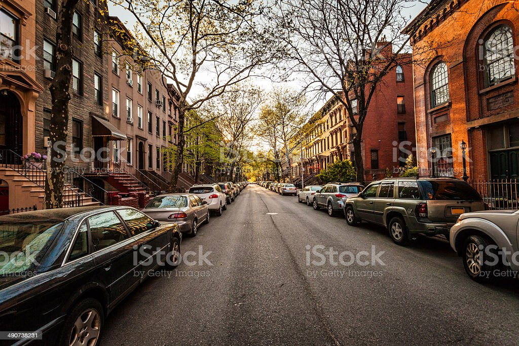 Brooklyn brownstones on side street stock photo