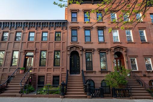 A row of Brooklyn brownstones in Carroll Gardens, Brooklyn. New York City. USA