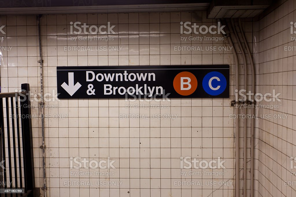 Brooklyn & downtown sign in subway of New York City stock photo
