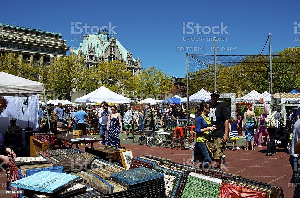 Brooklyn Flea Market People Scene, Fort Greene, New York City royalty-free stock photo