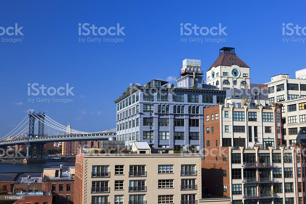 Brooklyn Heights buildings with Manhattan bridge in background stock photo