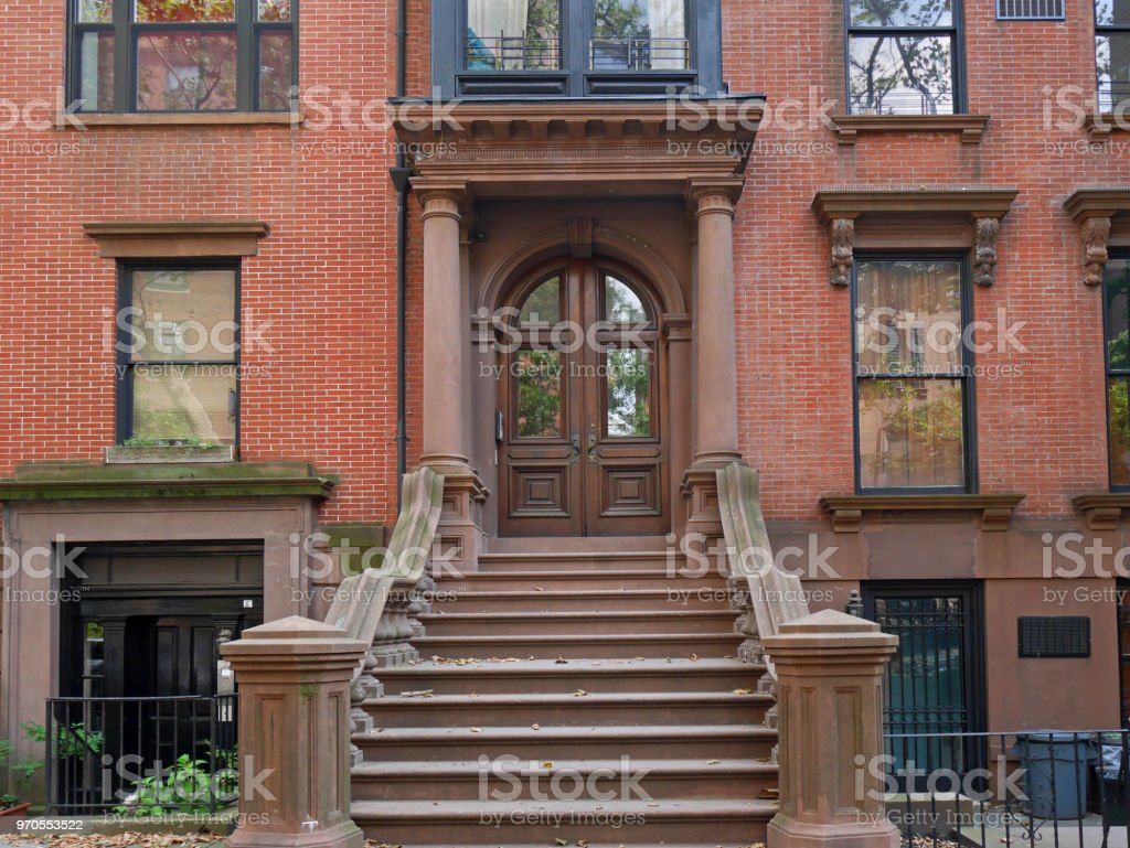 Brooklyn Heights historic brownstone building stock photo