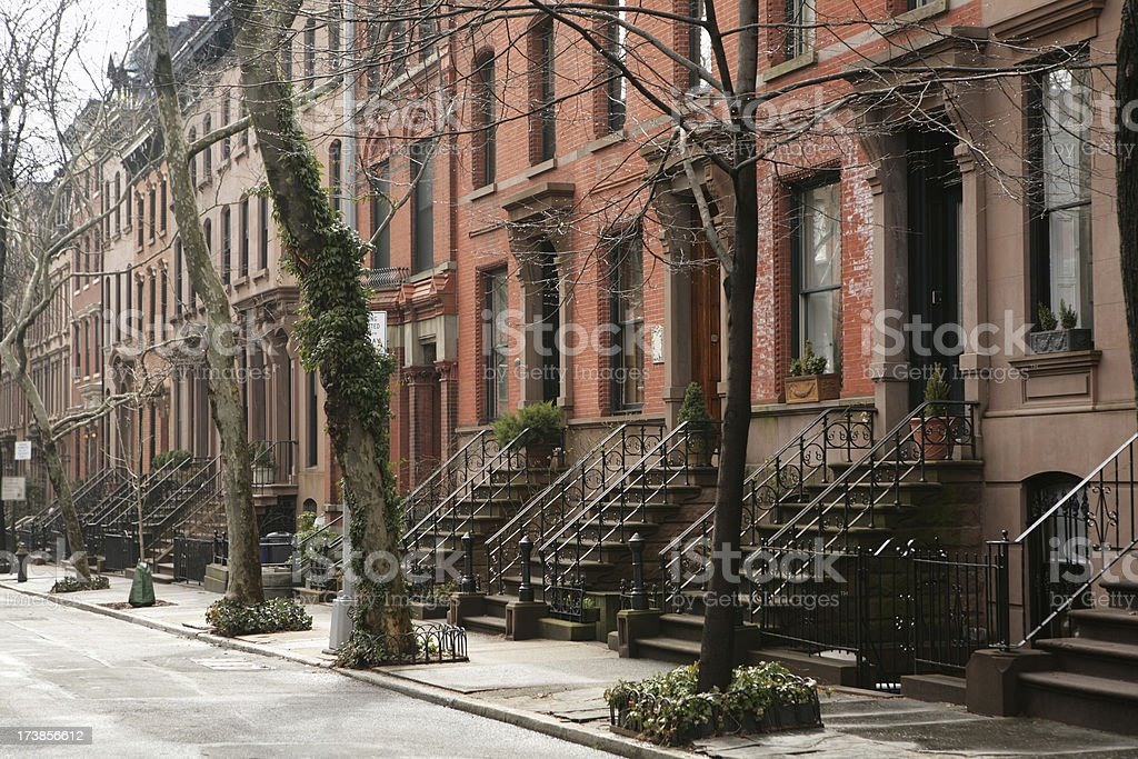 Brooklyn Heights Historic Brownstone Houses and Street stock photo