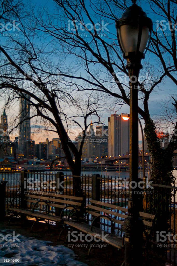 Brooklyn Heights Promenade Lamp Post and Skyline stock photo