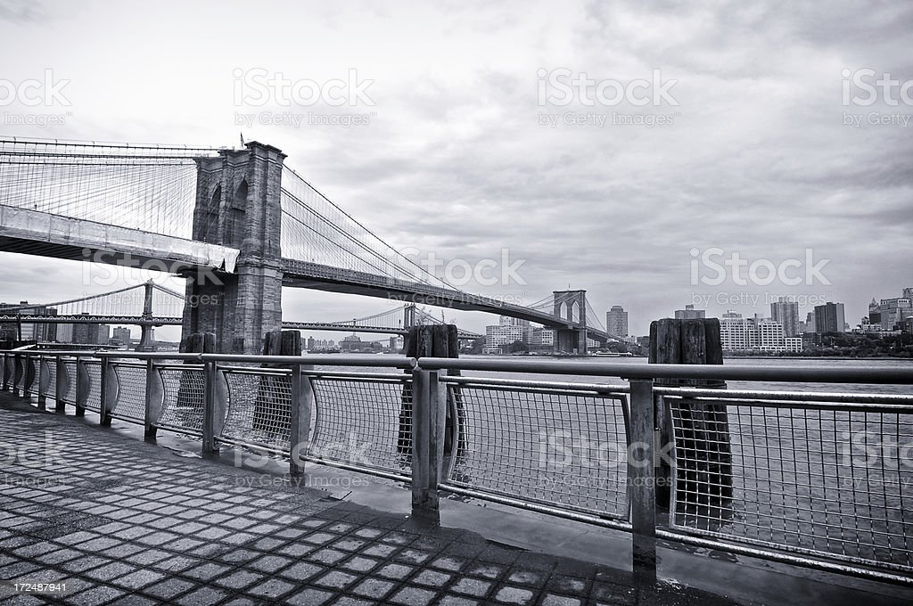Brooklyn & Manhattan Bridges seen from East River promenade, NYC royalty-free stock photo