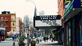 Brooklyn, NYC movie theatre in Cobble Hill/Carroll Gardens closed for the coronavirus COVID-19 pandemic breakout in New York City. Taken March 31, 2020, week two into social distancing/quarantine. The sign reads \