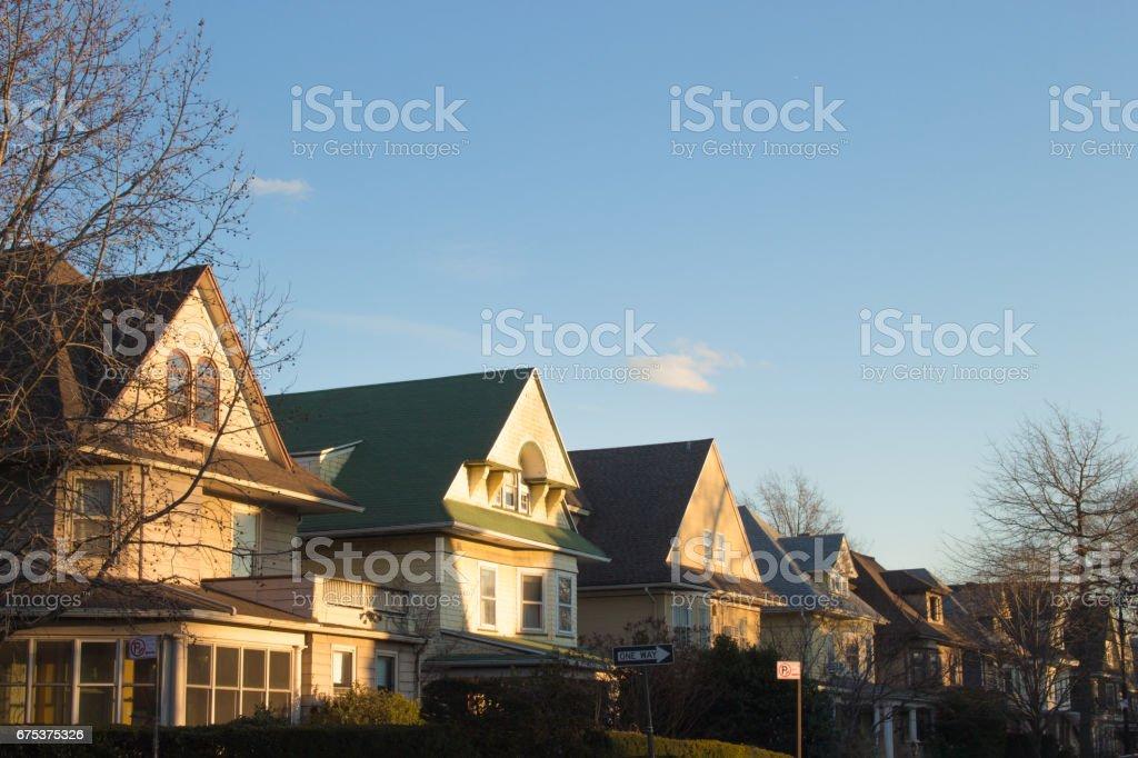 Brooklyn Neighborhood at Sunset stock photo