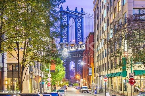 istock Brooklyn, New York, USA cityscape with Manhattan Bridge 1145859224