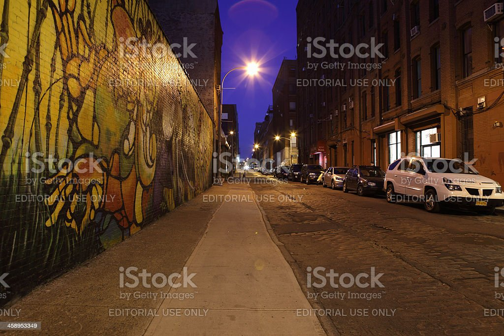 DUMBO Brooklyn NYC at night street view stock photo