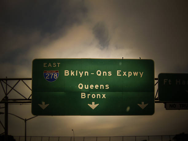 Brooklyn Queens Bronx road sign stock photo