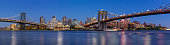 Brooklyn, NY, USA - June 01, 2017: Evening panoramic view of Brooklyn Riverfront between the Manhattan Bridge and the Brooklyn Bridge. The view includes Main Street Park, Brooklyn Bridge Park, the East River and the newly renovated Brooklyn waterfront. Dumbo, Brooklyn, New York City