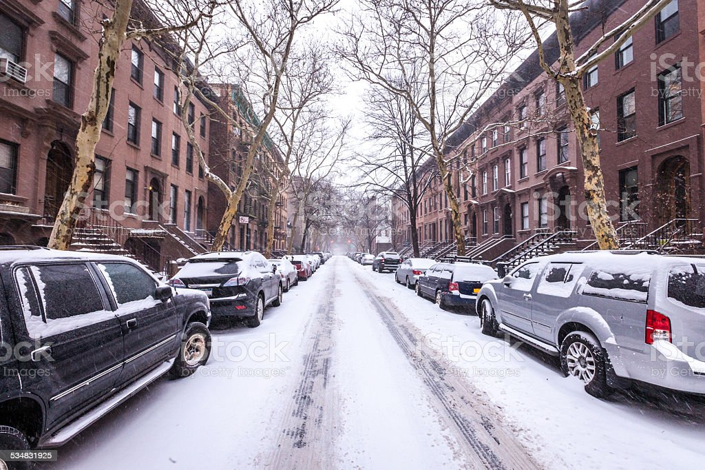 Brooklyn Side Street Covered in Snow stock photo
