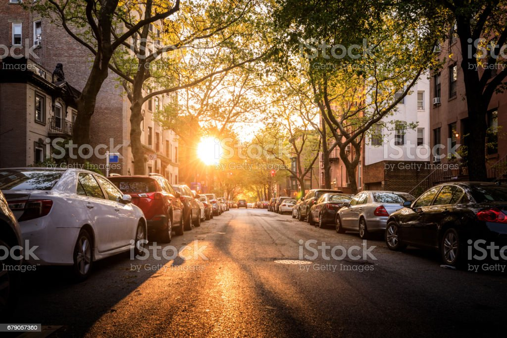 Brooklyn Street in the Evening stock photo