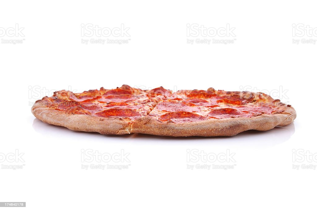 Brooklyn style pizza on a white background stock photo