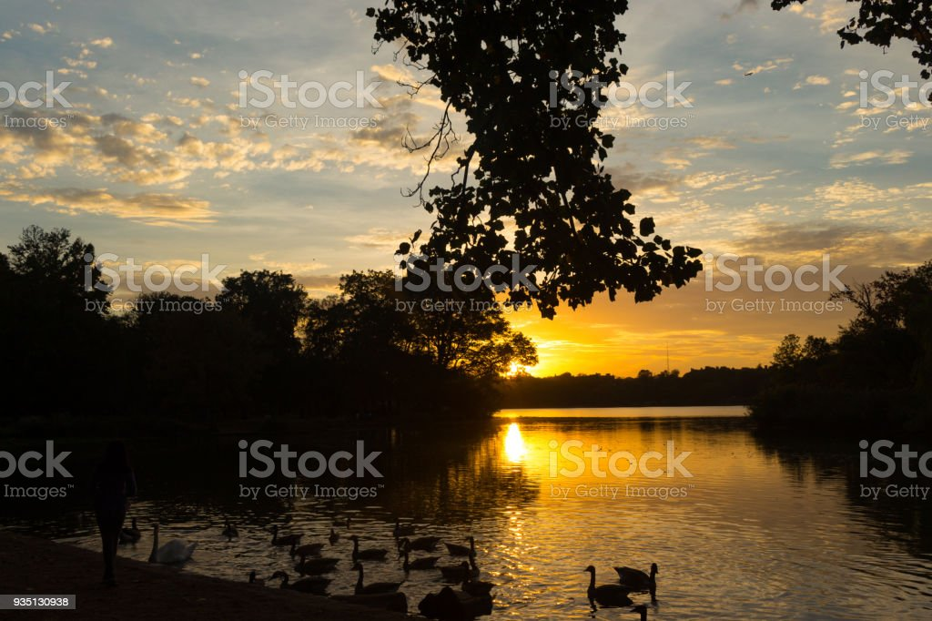 Brooklyn Sunset by the Lake stock photo