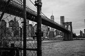 I'm proud to say that I believe this is a quite unique perspective of Brooklyn Bridge and down town Manhattan.  fence is unfocused near the camera. Black and white photo