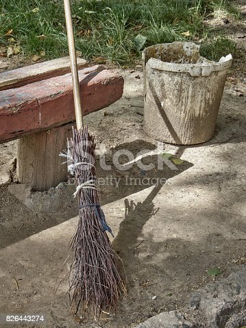 istock Broom and bucket for cleaning garbage on the street. 826443274